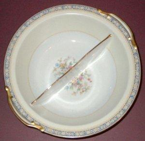 Vintage NORITAKE China - Round Divided Vegetable Bowl - SWANSEA Pattern (#685)