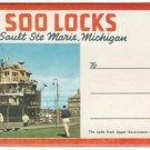 1950s SOO LOCKS, Sault Ste Marie, Michigan - Full Color Souvenir Folder/Mailer
