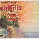 1934 BLACK HILLS, South Dakota - Full Color Illustrated Souvenir Folder/Mailer