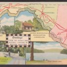 1955 WESTERN MARYLAND Map & Scenic Attractions - Unused LINEN Postcard