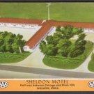 1950s SHELDON MOTEL, Sheldon, Iowa - Unused Full-Color Postcard
