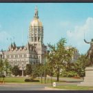 1950s HARTFORD, Connecticut - State Capitol and Lafayette Statue - Unused Postcard