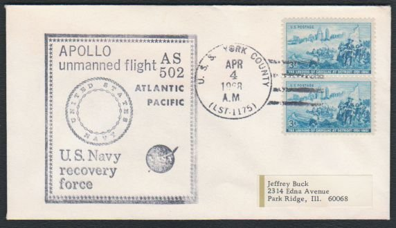 1968 - APOLLO 6 Test Flight - AS 502 Recovery Force Cover - U.S.S. York County (LST-1175)