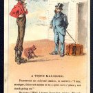"Victorian Trade Card - Arbuckle Brothers Coffee Company - ""A TOWN MALIGNED"" (#5)"