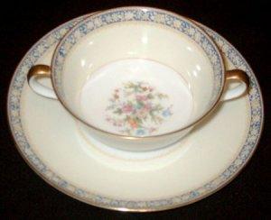 Vintage NORITAKE China - Cream Soup Bowl and Saucer Set - SWANSEA Pattern (#685)