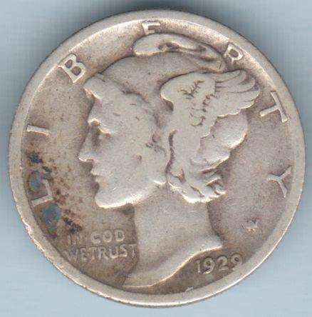 1929-S Mercury Dime (U.S. Coin - 90% Silver) - Circulated