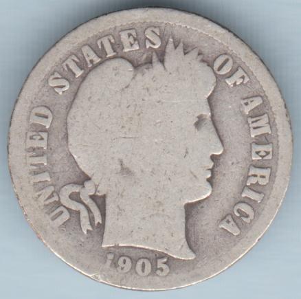1905 Barber Dime (U.S. Coin - 90% Silver) - Circulated