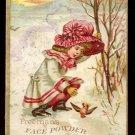 FREEMAN'S FACE POWDER Victorian Trade Card - Little girl and dead bird