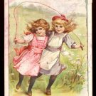 1896 HOME INSURANCE COMPANY Victorian Trade Card - Two little girls with jump rope