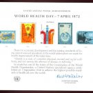 UNITED NATIONS POSTAL ADMINISTRATION Souvenir Card #1 - 1972 WORLD HEALTH DAY - Mint