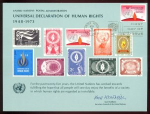 UNITED NATIONS POSTAL ADMINISTRATION Souvenir Card #4 - 1973 HUMAN RIGHTS - First Day (New York)