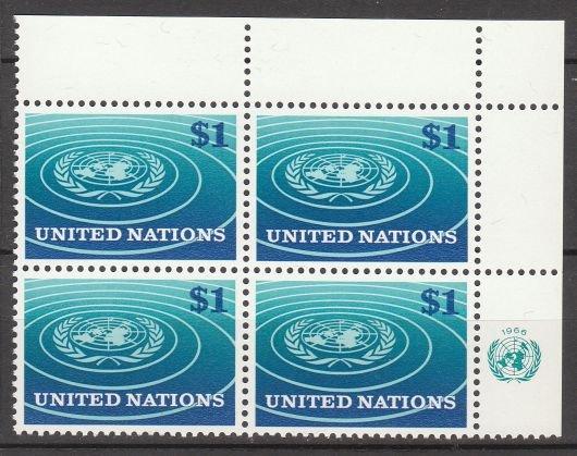 UNITED NATIONS (New York) - 1966 $1 Regular Issue (Sc. #150) - Inscription Block of 4 - MNH