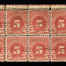 J83 - Used 5¢ Postage Due PLATE BLOCK of 10 - St. Johnsbury, Vermont cancel