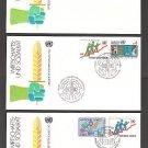 1980 UNITED NATIONS Economic Social Council FDCs (3) - NY (Sc. #341-2) Geneva (#96-7) Vienna (#15-6)