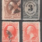1873 - United States Official Stamps - 4 different - Used
