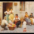 "1950s BALTIMORE, MARYLAND - Haussner's Restaurant - ""The Venetian Flower Vendor"" - Unused Postcard"