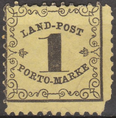 BADEN Postage Stamp - 1862 - 1kr Rural Postage Due (Sc. #LJ1) - Unused