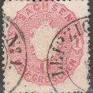 SACHSEN (Saxony) Postage Stamp - 1863 - 1ng Coat of Arms (Sc. #17) - Used
