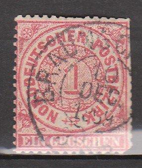 GERMANY Postage Stamp - 1868 - 1gr North German Confederation (Sc. #4) - Used