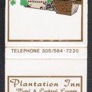 PLANTATION INN Motel & Cocktail Lounge - Matchbook Cover - Plantation, Florida