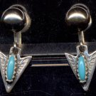 Vintage Sterling Silver Earrings w/ Turquoise (?) Stones - Screw-Post type