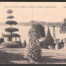 1930s (?) WELLESLEY, MASSACHUSETTS - Lake Waban from Hunnewell Gardens - Postcard