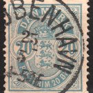 DENMARK Postage Stamp - 1884 - 20o Coat of Arms (Sc. #40) - Used