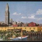 1950s BOSTON, MASSACHUSETTS - Downtown Skyline and Customs House Tower -Postcard