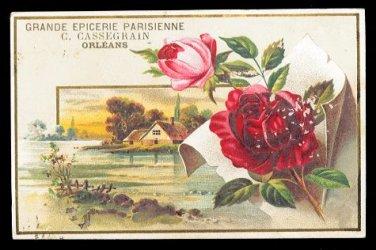C. CASSEGRAIN Victorian Trade Card - Grande Epicerie Parisienne - ROSES