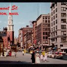 1950s BOSTON, MASS. - Tremont Street and Park Street Church - Unused Postcard