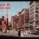 1950s BOSTON, MASS. - Tremont Street and Park Street Church - Unused Postcard
