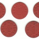 World War II OPA Red Point Ration Tokens - 5 different codes: VC, VU, UX, HC, XH