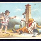 ANGLO-SWISS Condensed Milk - Victorian Trade Card - winged cherub, water pump