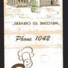 CARVER'S Restaurant and CEDAR LAWN Motel - 1950s(?) Matchbook Cover - Waverly, Iowa