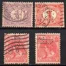 NETHERLANDS Postage Stamps w/ Perfins - 1898 - ½c, 1c, and two 5c values - Used