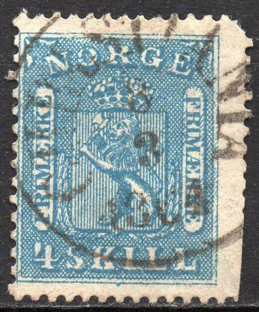 NORWAY Postage Stamp - 1863 - 4s Coat of Arms (Sc. #8) - Used