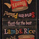 HUNT'S Canned Goods (Tomato Sauce/Peaches) - 1960s(?) Matchbook Cover w/ Recipe