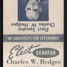 CHARLES W. HEDGES for Sheriff of Norfolk County (Mass.) - 1960 Matchbook Cover