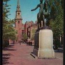 1950s BOSTON, Mass. - Old North Church / Paul Revere Statue - Unused Postcard