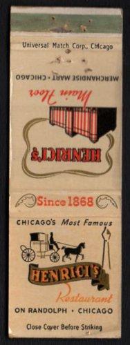 HENRICI'S Restaurant - Chicago, Illinois - 1960s Matchbook Cover