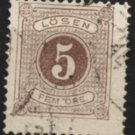 SWEDEN Postage Due Stamp - 1877 - 5o Numeral (Sc. #J14) - Used