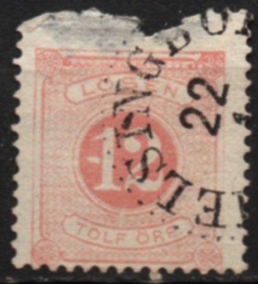 SWEDEN Postage Due Stamp - 1882 - 12o Numeral (Sc. #J16) - Used