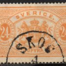 "SWEDEN Postage Stamp - 1874 - 24o Coat of Arms ""Official"" (Sc. #O8) - Used"