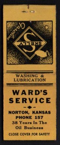 WARD'S SERVICE, Skelly Gasoline - Norton, Kansas - 1950s(?) Matchbook Cover