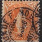 SWITZERLAND Postage Stamp - 1882 - 20c Helvetia (Sc. #82) - Used