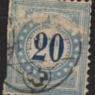 SWITZERLAND Postage Due Stamp - 1878 - 20c Numeral (Sc. #J6a) - Used