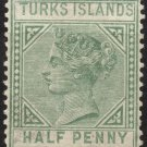 TURKS ISLANDS Postage Stamp - 1885 - ½p Queen Victoria (Sc. #48) Unused (no gum)