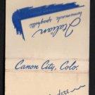 CLUB BELVEDERE Restaurant - Canon City, Colorado - Vintage Matchbook Cover