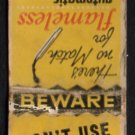 ELECTRIC WATER HEATING - 1950s(?) Vintage Matchbook Cover