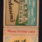 PHIL JOHNSON'S Restaurant - Northbrook, Illinois - Vintage Matchbook Cover